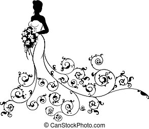A bride wedding silhouette design, in a white bridal dress gown holding a floral bouquet of flowers with an abstract floral pattern design