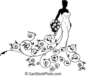 A bride wedding silhouette design, the bride in a white bridal dress gown holding a floral bouquet of flowers with an abstract floral pattern design