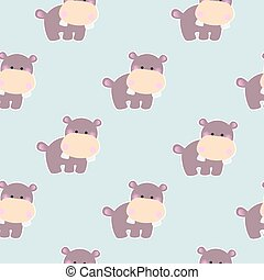 Pattern with a cute baby hippo
