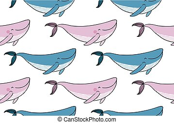 Pattern with a small cartoon whale.