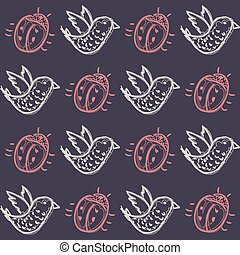 Pattern with birds and beetles