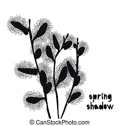 Pattern with black pussy willow silhouette shadow isolated on white background. Vintage fabric textile, fashion summer print design, exotic poster