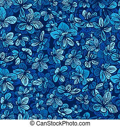 Pattern with Blue flowers