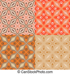 Pattern with bold geometric shapes in 1970s style - Set of 4...