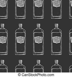 Pattern with bottles of alcohol
