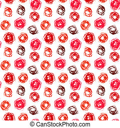 Pattern with brushed circles in coral red