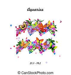 Pattern with butterflies, cute zodiac sign - aquarius