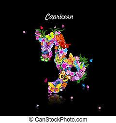 Pattern with butterflies, cute zodiac sign - capricorn