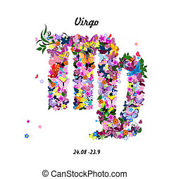 Pattern with butterflies, cute zodiac sign - virgo