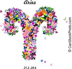 Pattern with butterflies, cute zodiac sign - aries.