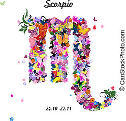Pattern with butterflies, cute zodiac sign - scorpio