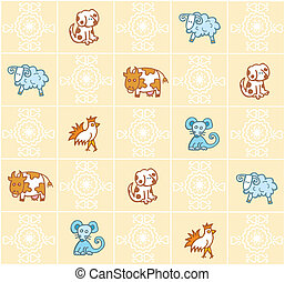pattern with cartoon animals