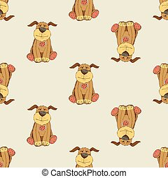 Pattern with cartoon dog