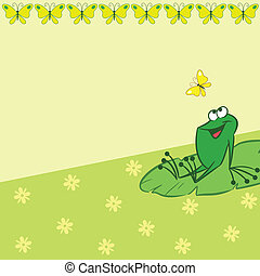 Pattern with cartoon frog and butte - The illustration shows...