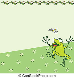 Pattern with cartoon frog
