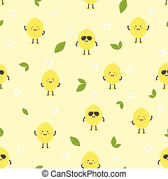 pattern with cartoon lemon