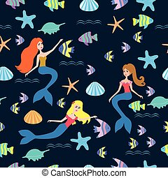 Pattern with cartoon mermaid