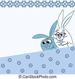 Pattern with cartoon rabbits