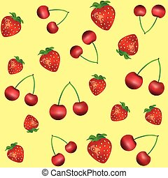 Pattern with cherry and strawberry on yellow background