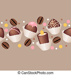Pattern with chocolate sweets - Seamless beige horizontal...