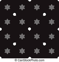 Pattern With Christmas Balls and snowflakes on a black background. Vector illustration