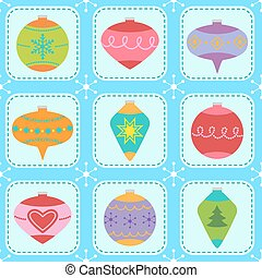 Pattern with Christmas tree ornaments