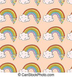 Pattern with clouds and rainbows