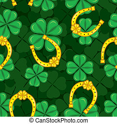 Pattern with clover and horseshoe