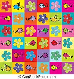 Pattern with colored birds and flowers