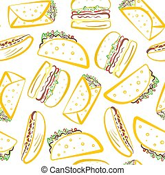 Pattern with colored outline tasty fast food