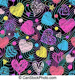 Motley seamless pattern with colorful hearts and lines. Vector illustration.