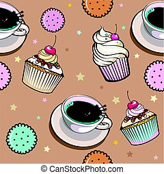 pattern with cup coffee and cakes