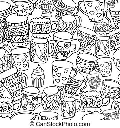 Pattern with cups and mugs. Hand drawn zentangle. Vector illustration eps 10 for your design. Black and white background.