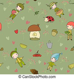 Pattern with cute cartoon gnomes. Funny elves