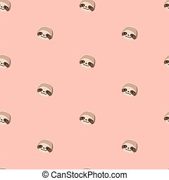 Pattern with cute cartoon sloths.