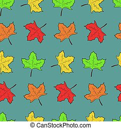 Pattern with cute maple leaves on blue background