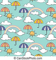 Pattern with cute rainbow and umbrella.