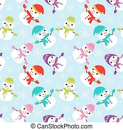 Pattern with cute snowmen