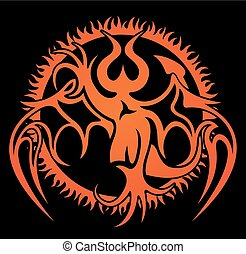 Pattern with demon image and fire circle