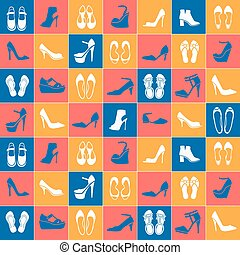pattern with different kinds of shoes