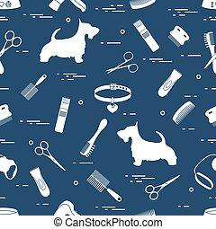 Pattern with dog, combs, collar, leash, razor, hair dryer, bowl, scissors.