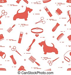 Pattern with dog, combs, collar, leash, razor, hair dryer, bowl, scissors.
