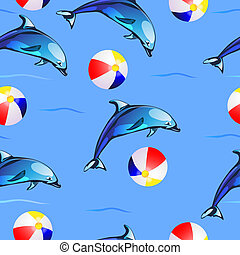 Pattern with dolphins