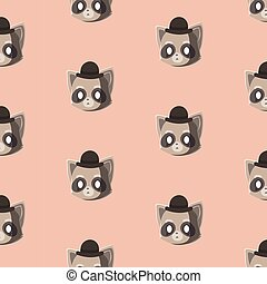 Pattern with doodle raccoons face.
