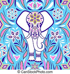 elephant and abstract flowers