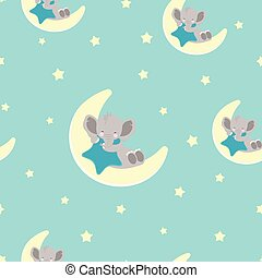pattern with elephant and moon
