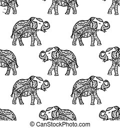 Pattern with Elephant.