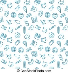 Pattern with fast food icons - vector seamless texture