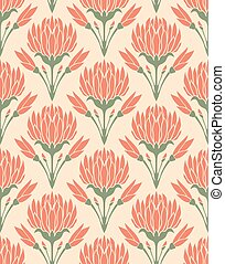 Pattern with flowers of clover.