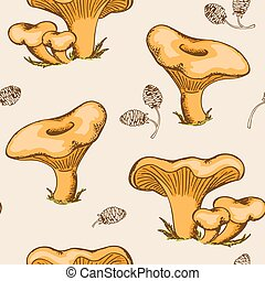 Pattern with forest mushrooms